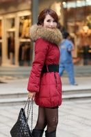 Women's Fur Collar Slim Collar Down Coat Outerwear Jacket YRF01 Color Red