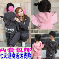 Fashion autumn family 2013 autumn and winter long-sleeve parent-child sweatshirt set clothes for mother and son