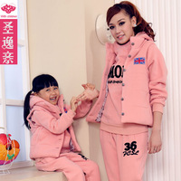 Autumn and winter fashion autumn family 2013 clothes for mother and daughter three pieces set thickening fleece sweatshirt vest