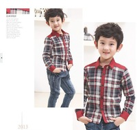 Kids' boys cotton casual plaid long-sleeved shirt collar shirt Korean version of Autumn
