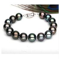 New fine pearl jewelry AAA +10-11mm tahitian multicolor pearl bracelet 7.5-8inch s925