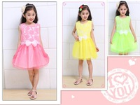 Hot 2015 new retail children's clothing Girls Printed Dress lined with cotton gauze dress free shipping