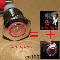 16mm Red Power Symbol&angle eye 12V LED Push Button Metal momentary  Resetable Switch