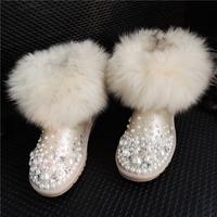 2014 winter new women snow boots ,female genuine leather  wool fox fur pearl rhinestone boots,  Waterproof non-slip cotton shoes