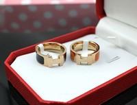 Free Shipping 2013 Fashion Jewelry 18k Rose Gold Rings H Letter Logo Finger Rings Titanium Rings Black & Orange For Couples R3