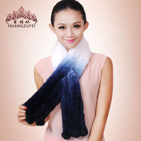 Gradient color  super soft rex rabbit hair muffler scarf ultra long female fur scarf
