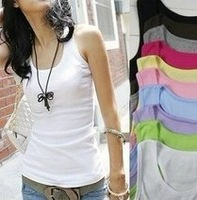 FreeShipping Summer hot-selling woven cotton rib knitting women's tank Tops long design