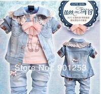 Free Shipping 3sets/lot Girls Set Jeans Set T Shirt +Coat+Jeans Baby Clothes Set 90-110CM
