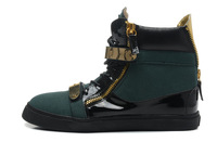 Mens Womens 2013 Designer Brand Dark Green Suede Black Patent Leather Double Gold Iron Velcro Top Quality Fashion Flat Sneakers
