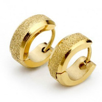 The Lowest Price Brand New Fashion Christmas Gift Men's Frosting Gold Titanium Steel Stud Earrings Female Hot Sell Free Shipping