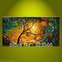 Abstract modern wall art canvas large unframed big handmade picture tree of life oil painting on canvas free shipping to Russia