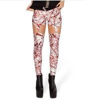 BLOOD SPLATTER SUSPENDERS WHOLESALE Women the Old Glory USA Flag  Leggings Digital Printed Skinny Galaxy Elastic