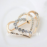 Free shipping Wedding Brooches,Top quality Alloy Luxury Crystal Duble Heart Brooch Pin 18K Gold Jewelry for Women