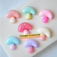 200Pcs/lot, Flat Back Resin Dot Color mushrooms For Cell Phone Deceration Crafts Making Embellishments DIY