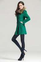 Women's  Real 35% Woolen Real With fur Collars Coat PC40 Green