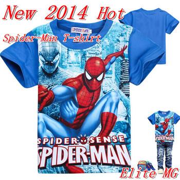 Новый свободного покроя одежда бренда мальчиков одежда хлопок детская одежда человек паук футболка дети человек паук с коротким рукавом т рубашки верхних частей тенниски