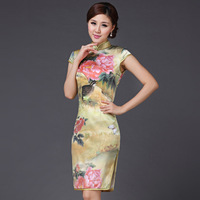 Female summer fashion heavy silk mulberry silk houndstooth quality vintage design short cheongsam dress