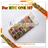 1 Piece Cute TPU OWL Soft Phone Case For HTC One M7 Free Shipping