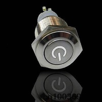 16mm 12V White LED Latching Push Button Metal Switch ON/OFF Car Boat DIY