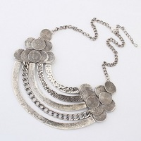 New Hot Ladies Vintage Punk Style Silver Metal Exaggerated Multilayer Bib Statement Necklace Wholesale Free Shipping#100681