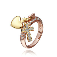 Anniversary Gifts,18k rose gold plated ring fashion Love Cross Crystal SWA Element, 100% handmade fashion jewelry rings R372