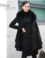 Women's Long-sleeve Real Cashmere + Artificial Simulation Collars Coat PC27