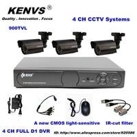 3*900TVL Outdoor Day Night 4CH CCTV Security Camera System 900TVL  4CH D1 DVR IR Camera DIY Kit Color Video Surveillance System