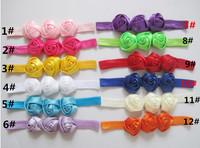 Baby Triple Rose Flowers Headbands Rosette Baby Hair Accessories Satin Ribbon Headwear Soft Stretchy Satin Elastic Hair Bands