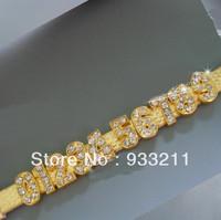 100pcs 10mm golden alloy number DIY chrams fit 10mm belt wristbant pet collar