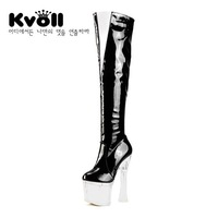 new 2013 Kvoll japanned leather zipper unique transparent shoe heel ultra high heels women punk shoes over the knee riding boots