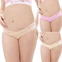 2013 High Quality Maternity Pregnant Cotton Panties Low Rise Waist Brief Underwear Knickers Nude Pink HK Free Shipping
