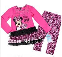 Wholesale girl clothing 4pcs/lot New Girls Minnie Mouse Clothes Baby Girls Clothing Sets 2pcs baby Tutu dress+ Leopard Leggings