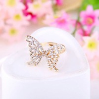 2014 New Arrived Fashion Elegant Drill Full Rhineston Hollow Out Butterfly Ring R704
