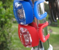 10pcs/lot # 2 LED Bicycle Light Lamp Silicone Rear Wheel Waterproof Safety Bike 2LED Light Free Shipping