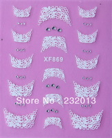 2013 Wholesale Free Shipping Fashion Ultra Thin 3D French Nail Stickers Eco-Friendly Nail Polish Film XF869