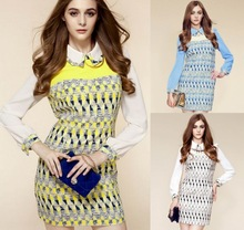 2013 Women Autumn Winter Dress Geometric Print Zipper Dress Patchwork Puff Sleeve Polo Collar Slim Casual