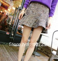 Custom models hot sweet boutique tweed skirt lotus leaf hem zip it