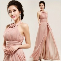 Naked Pink Halter Women Chiffon Sexy Formal Evening Dresses Gowns 1958