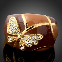[Arinna Jewelry]Fashion Wholesale Crystal Butterfly Rings With 18K Gold Plated Jewelry Rings for women Full Sizes(6 7 8 9)J0534