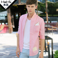 Wood 2013 autumn fashion comfortable casual shirt male slim long-sleeve shirt v032