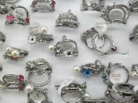 Free Shipping Facile Design Rhinestone Fashion And Stylish Imitated Pearls Crystals Titanium Rings For Women  50 Pcs/Set