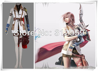 Customized any size , Anime Cosplay Final Fantasy XIII Lightning Halloween Cosplay Costume Freeshipping