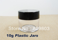 Freeshipping- 10g Clear Round Plastic Bottles Jars / Nail Art Decorative Storage 10pieces / lot