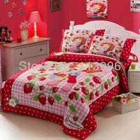brand new kitty strawberry minnie cartoon children bedding sets single bed twin kids duvet cover sheet set 3PC girls gift