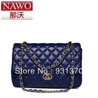 New arrivas2013 women's handbag fashion dimond plaid chain women's sheepskin bags genuine leather shoulder bag free shipping