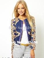 2014New Arrial Brand Design Women's Vintage Color Blocking Print Long Sleeve Zipper Jacket Ladies Slim Suit Blazer Jacket