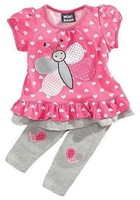lucky children's clothing wholesale baby girls Next Bee styling sleeved t-shirt + pants piece fitted love