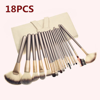 Brand New 18pcs Makeup Brush set  Cosmetic brushes kits Make-up tools Brown Wood handle Goat Hair perfect for Studio or Personal