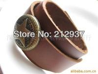 Star charm genuine leather wristband factory price stylish men casual sporting bracelet bangles  KL0026