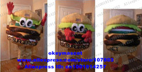 BEST BURGERS ON THE PLANET, HAMBURGER Mascot Costume HAM Cartoon Character Outfit No.586 Free Ship